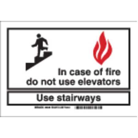 Fire Stairways Sign, 7 x 7In, R and BK/WHT