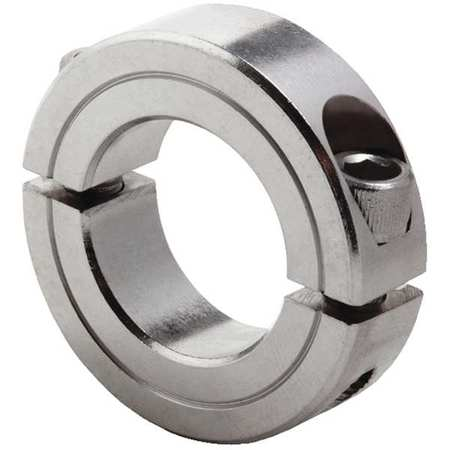 Shaft Collar, Clamp, 2Pc, 1/4 In, SS