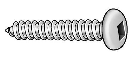 Metal Screw, Pan, #6, 3/8 In L, PK100