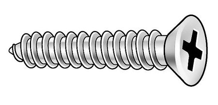 Metal Screw, Flat, #8, 2 1/2 L, PK100