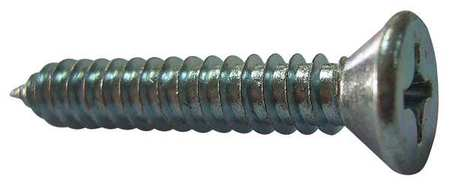 Sheet Metal Screw, Flat, #14, 1 in., PK100