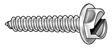 Metal Screw, Hex, #6, 3/4 In L, PK100