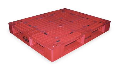 Plastic Pallet, 48 L X 40 In W, Red