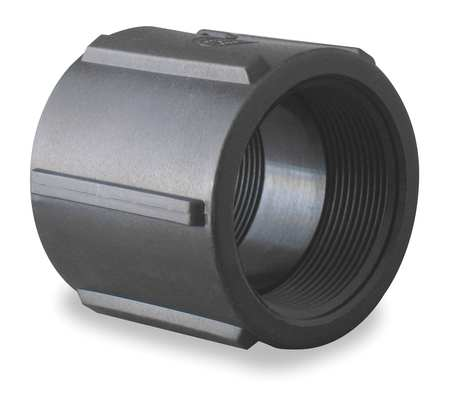 Pipe Coupling, 2 In, FPT, 150 PSI, Black