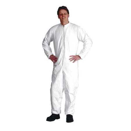 Collared Coverall, Elastic, White, XL, PK25