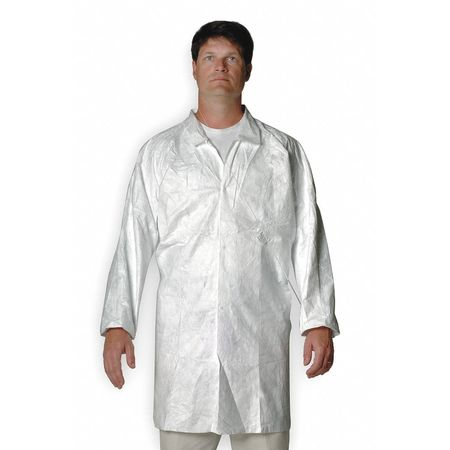 Disp. Lab Coat, L, Tyvek,  White, PK30