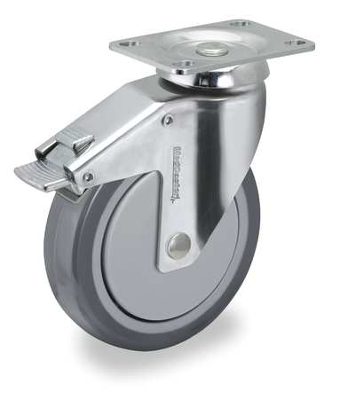 Swivel Plate Caster w/Total-Lock, TPR, 6 in, 260 lb