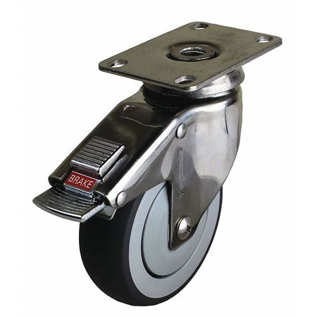 Swivel Plate Caster w/Total-Lock, TPR, 6 in, 260 lb