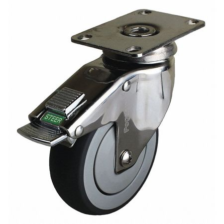 Swivel Plate Caster w/2-Position Directional Lock, 5 in.
