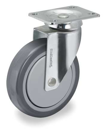 Swivel Plate Caster, TPR, 3 in., 190 lb.