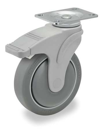 Swivel Plate Caster w/Total-Lock, TPR, 4 in, 275 lb