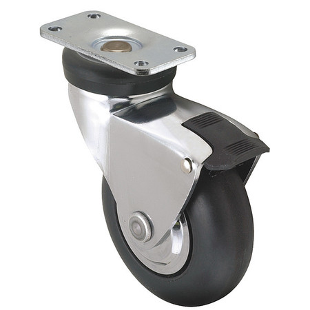 Swivel Plate Caster w/Total-Lock, Neopr, 3in, 175lb