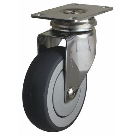 Swivel Plate Caster, TPR, 6 in., 260 lb.