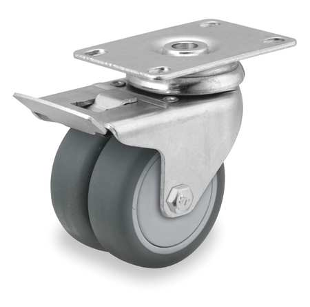 Swivel Plate Caster w/Total-Lock, TPR, 3 in, 220 lb