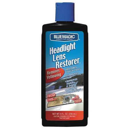 Headlight Lens Restorer, 8 Oz, Bottle, Blue