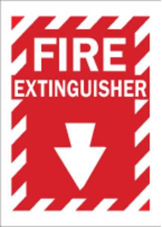 Fire Extinguisher Sign, 14 x 10In, WHT/R