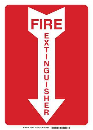 Fire Extinguisher Sign, 10 x 7In, R/WHT, AL