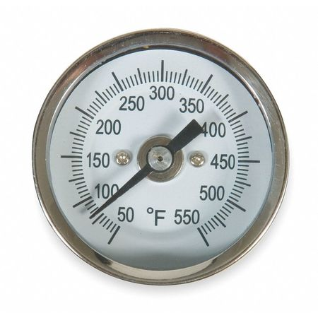 Bimetal Thermom, 2 In Dial, 50 to 550F
