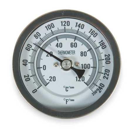 Bimetal Thermom, 3 In Dial, 0 to 250F