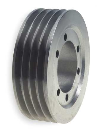 "1/2"" - 2-5/8"" Bushed Bore 4 Groove V-Belt Pulley 6.3"" OD"