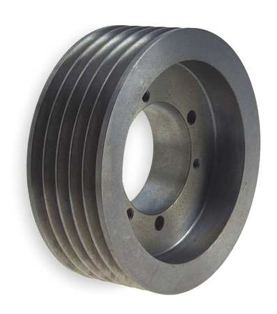 "1/2"" - 2-5/8"" Bushed Bore 5 Groove V-Belt Pulley 6"" OD"
