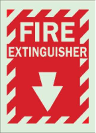 Fire Extinguisher Sign, 14 x 10In, GRN/R