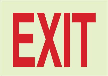 Exit Sign, 7 x 10In, R/WHT, Exit, ENG, Text