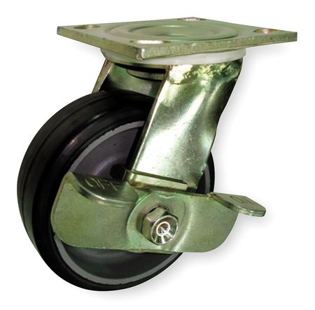 Swivel Plat Castr, Rbbr, 8 in, 500 lb, Plt B