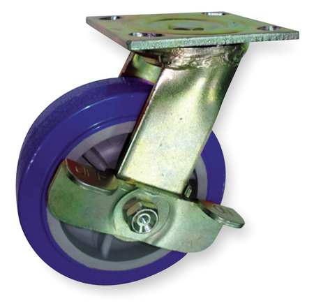 Swivel Plat Caster, Poly, 4 in., 600 lb, Blu