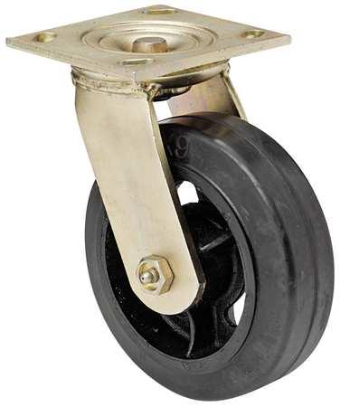 Swivl Plate Castr, Rbbr, 6 in., 410 lb., Blk