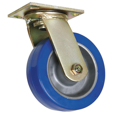 Swivel Plate Caster, Poly, 4 in, 750 lb, Blu