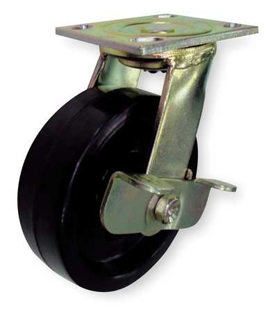 Swivel Plate Caster, Phenolic, 8 in., 1200 lb.