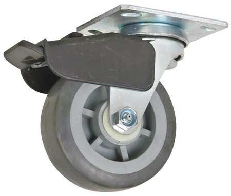 Swivel Plate Caster, Therm Rubber, 5 in, 325 lb, Gry