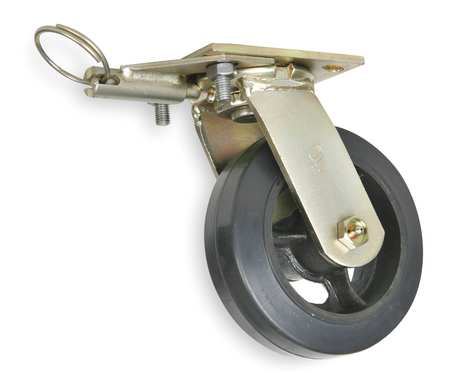 Swivel Plate Caster, Rubber, 6 in., 410 lb., B