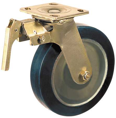 Swivel Plate Caster, Poly, 6 in., 1200 lb., Blk