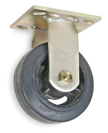 Rigd Plate Caster, Rubber, 6 in., 410 lb., D