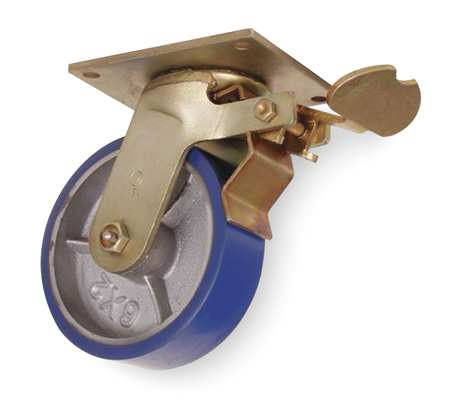 Swivel Plate Caster, Poly, 5 in., 1050 lb., Blu