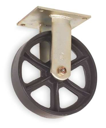 Rgd Plate Cster, Cast Iron, 8 in., 1200 lb.