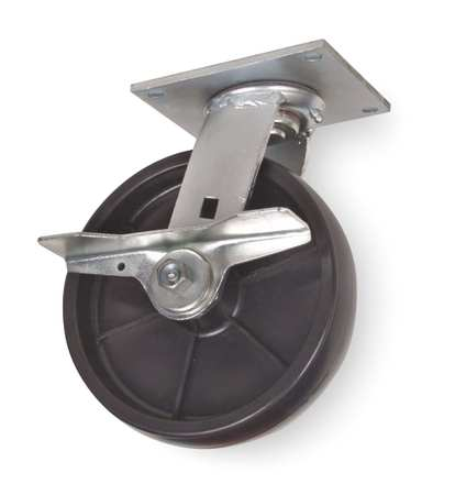 Swivel Plate Caster, Poly, 8 in., 1000 lb.