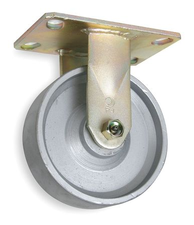 Rigid Plate Caster, Cast Irn, 6 in, 1750 lb