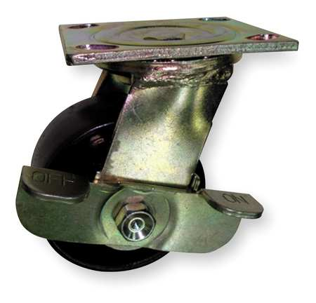 Swivel Plate Caster, Steel, 4 in., 1000 lb.