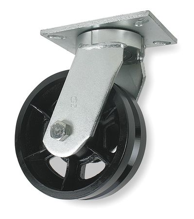 V-Groove Swivel Caster, Cast Iron,  8 in, 2800 lb