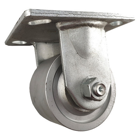 1NWH8 Rigid Plate Caster, Cast Iron, 4 in, 700 lb