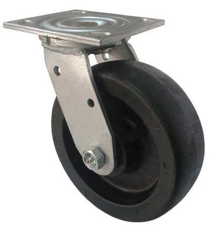 Swivel Plate Caster, Glass Nylon, 6 in, 1200 lb