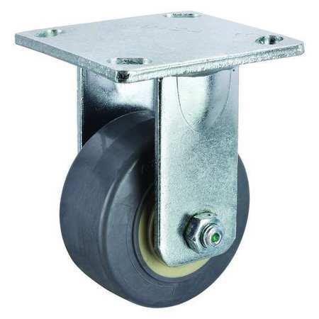 Rigid Plate Caster, Rubber, 4 in., 350 lb.