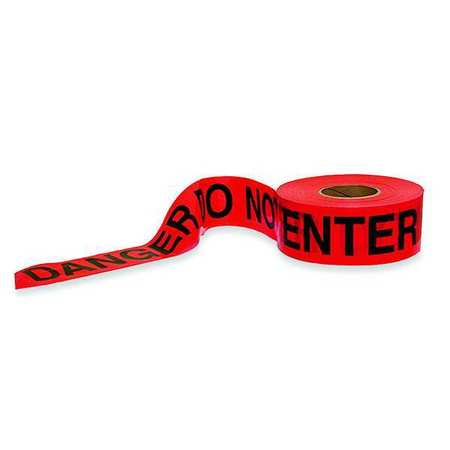 Barricade Tape, Red/Black, 1000 ft x 3 In