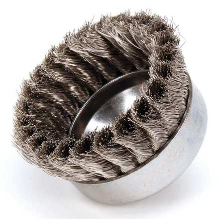 Knot Wire Cup Wire Brush,  Threaded Arbor,  4""