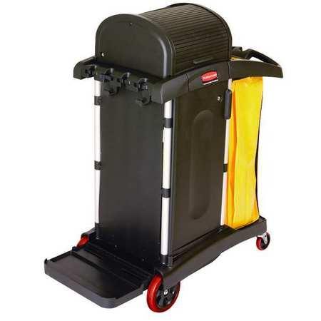 Microfiber Janitor Cart, Black, Plstc/Alum