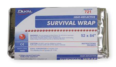 Survival Wrap Blanket, Silver, 52In x 84In