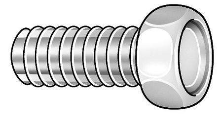 "#4-40 x 1/2"" Hex Head Trim Machine Screw,  100 pk."